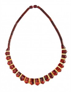 Cherry and yellow amber necklace Cleopatra