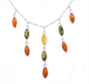 Mixed colour amber necklace
