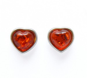 "Cognac amber earrings ""Hearts"""