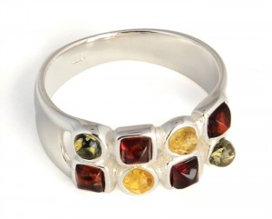 Mixed colors amber ring