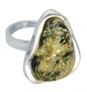 Green amber ring - adjustable