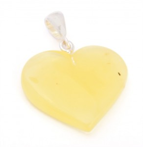 Yellow amber pendant Heart