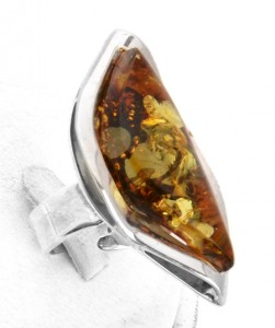 Green and cognac amber ring - adjustable