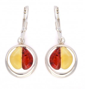 Yellow and cognac amber earrings