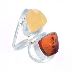 Cognac and yellow amber ring
