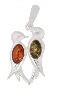 "Pendant with cognac and green amber ""Birds"""