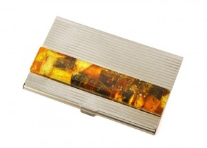 Amber mosaic card holder