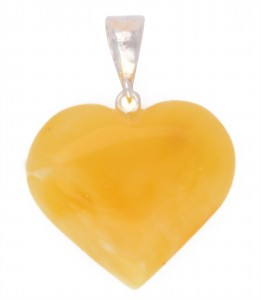 "Yellow amber pendant ""Heart"""