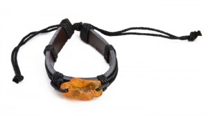 Cognac and yellow amber bracelet for men