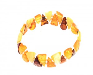 "Mixed colors amber bracelet ""Triangles"""