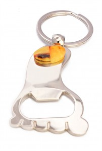 Cognac, yellow and cherry amber pendant and bottle opener