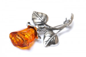 Cognac Amber Rose Brooch