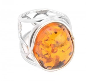Cognac Amber Ring - adjustable