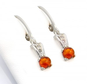 Cognac amber earrings with zircons