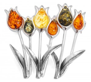 """Flowers"" Amber Brooche"
