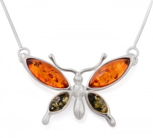 "Cognac and green necklace ""Butterfly"""
