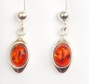Cognac amber earrings