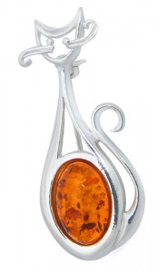 "Brooch ""Cat"" with Cognac Amber"