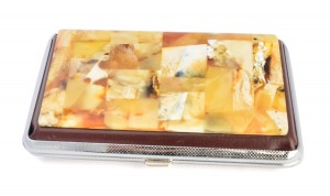 Business card holder with amber mosaic