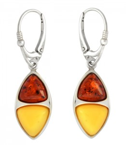Cognac and yellow amber earrings