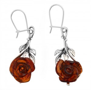 "Cognac amber earrings ""Rose"""