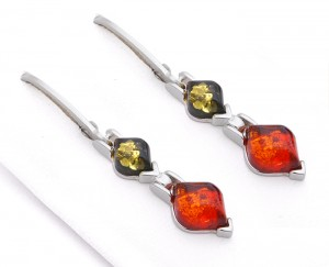 Cognac and Green Amber Earrings