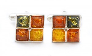 Mixed colors amber cufflinks