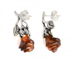 Cognac amber earrings Rose