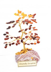 Tree of good luck with cognac and yellow amber