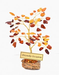Tree of good luck with yellow and cognac amber