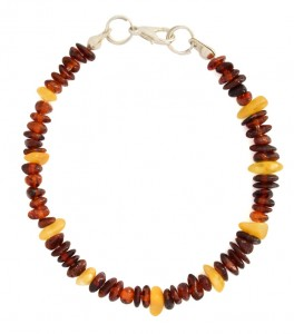 Cherry and yellow amber bracelet