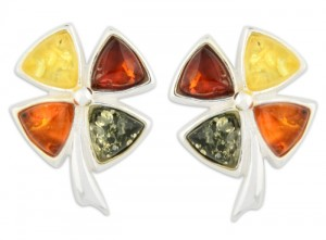 Mixed colors amber earrings