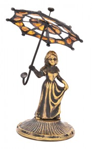 Women with ambrella - glass and amber