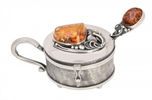 Cognac amber Sugar bowl with spoon
