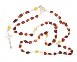 Rosary with cognac and yellow amber beads