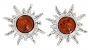 "Cognac amber earrings ""Sun"""
