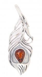 """Peacock feather"" Pendant with cognac amber"