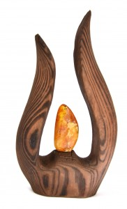 """Flame"" decoration - wood and amber"