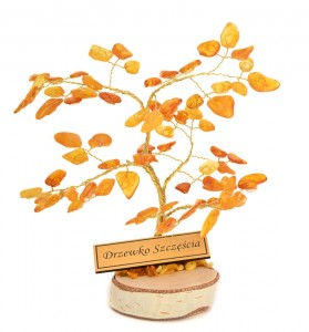 Tree of good luck with yellow amber