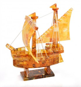 Yellow and cognac amber ship