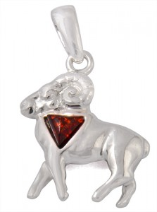 "Cognac amber pendant ""Aries"" (sing of the Zodiac)"