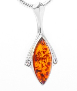 Cognac amber pendant with zircons