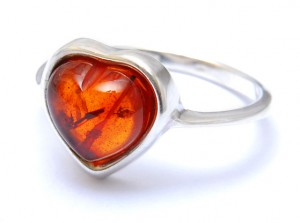 """Heart"" Cognac Amber Ring"