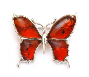 "Brooch ""Butterfly"" with Cognac Amber"