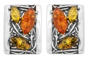 Green, yellow and cognac Amber Clip-on Earrings