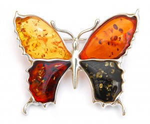 Mixed colors amber brooch Butterfly
