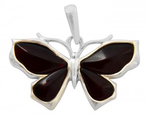 Cherry amber pendant Butterfly