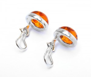 Clip Earrings with Cognac Amber
