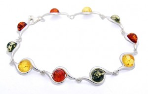 Bracelet with mixed colours of Amber