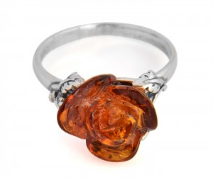 "Cognac amber ring ""Rose"""